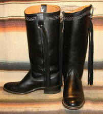 Womens Vintage Wrangler Black Leather Fringe Cowboy Boots 6.5 M Very Good Cond