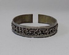 Chinese Antique Silver Cuff Bracelet Figures Birds Animals Marked
