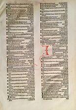 """Original Indexblatt """"H-I"""" aus der Schedel Weltchronik 1493, rubriziert & selten!"""