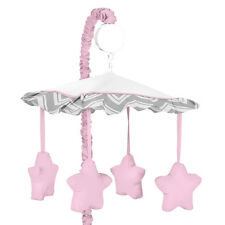 SWEET JOJO DESIGNS MUSICAL MOBILE FOR PINK GRAY BABY CRIB ZIGZAG CHEVRON BEDDING