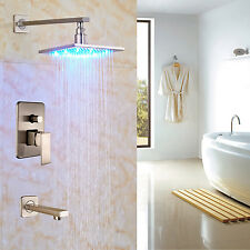 """Bath LED light 8"""" Top Rainfall Shower Set with Tub Spout Tap Brushed Nickel"""
