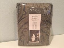 Croscill Hannah Slate Blue Pole Top Drapery Panel Pair w/ Tiebacks