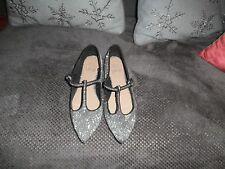 Fabulous F&F Silver Glitter Flat Shoes Size 5 (38)