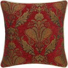 "RED GOLD FLORAL CHENILLE TAPESTRY 22"" THICK CUSHION COVER"