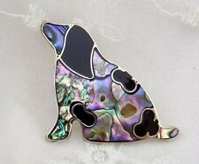 Alpaca Mexican Silver Dog Brooch Abalone Shell Epoxy Fashion Jewelry NEW