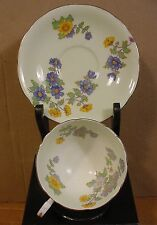 Aynsley Mint Green with Yellow & Purple Flowers Teacup & Saucer Made in England