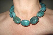 "Turquoise Real Large Nuggets Stone Chunky Necklace 18"" 45.5 cm silver ring clasp"