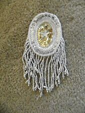 """Bead & Sequin Silver/ Gold Oval Applique With Hanging Bead Fringe 4.5""""x3"""""""