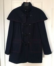 Ladies Ted Baker Navy & Red Trim Smart Vintage Design Cape Duffle Coat New sz 2