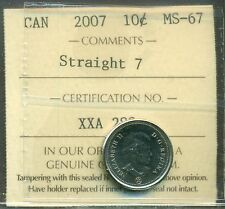 """2007 Canada 10 cent Certified ICCS MS-67 """"Straight 7"""""""