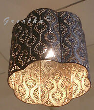 Moroccan Style Lace Large Brown/Gold Nocturnal Romantic Light Pendant Shade