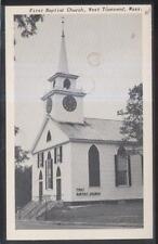 Postcard WEST TOWNSEND Mass/MA  1st First Baptist Church w/Clock Tower 1930's