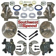"""NEW STREET ROD FRONT BRAKE & 2"""" DROP SPINDLE KIT,5X4.75"""" HUBS,ROTORS,CALIPERS"""