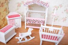 Dollhouse Bedroom Furniture Set 6PCS Canopy Bed Rocking Chair Hobbyhorse Cabinet