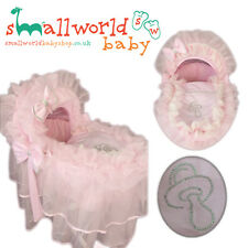 Personalised Romany Pink Frilly Bling Moses Basket Cover Set (NEXT DAY DISPATCH)