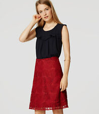 NWT Ann Taylor LOFT Paisley Lace Flare Skirt Red size 00