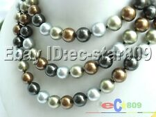 "P935 50"" 12MM BLACK MULTICOLOR SOUTHSEA SHELL PEARL NECKLACE"