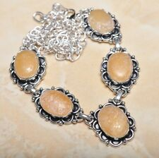 """Handmade Rough Yellow Agate Jasper 925 Sterling Silver Necklace 20.5"""" #N00687"""
