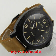 44mm Parnis black dial PVD case Miyota Automatic Sapphire glass Mens watch p695