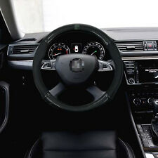 Anti-Slip Black Carbon Fiber Top PVC Leather Steering Wheel Cover for Skoda