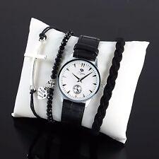 Fashion Women's Ladies Bracelet Silver Cross Infinity Leather Beads Watch Heart