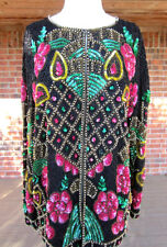 VINTAGE HEAVY THICK SEQUIN BEADED LONG SLEEVE MULTI COLOR TOP BLOUSE SIZE 3XL