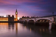 LONDON - BIG BEN OVER RIVER THAMES POSTER 24x36 - ENGLAND LANDSCAPE 36501