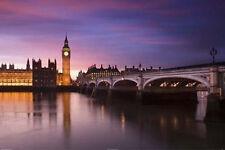 LONDON - BIG BEN OVER RIVER THAMES POSTER 24x36 - ENGLAND LANDSCAPE 36501