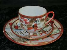 Japanese Fine Eggshell Porcelain TRIO Hand Decorated Geisha Pattern with Gilding