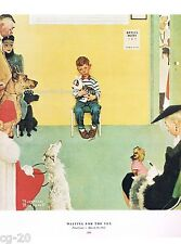 "Norman Rockwell Veterinarian print ""WAITING FOR THE VET"" animal dog cat 11x15 at"