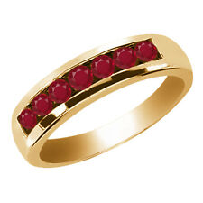0.98 Ct Round Red SI1/SI2 Ruby 14K Yellow Gold Men's Wedding Band Ring