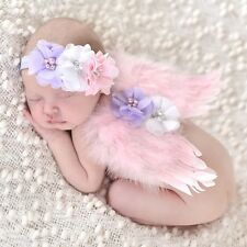Newborn Baby Girl Pink Feather Angel Wing +flower Headband Photography Prop