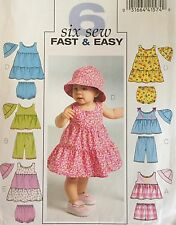 Butterick 5017 Sewing Pattern Baby Girls Easy Top Dress Cover Shorts Pants Hat