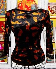 Betsey Johnson VINTAGE Top CRUSHED VELVET Black SIAMESE CAT Kitty Shirt S 2 4 6