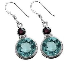 BLUE TOPAZ & RED GARNET GEMSTONE 925 STERLING SILVER DROP EARRINGS ~ 1 1/2""