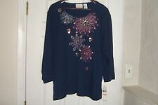 ALFRED DUNNER PLUS SIZE 3X TOP SIERRA MADRE NAVY NEW WITH TAGS