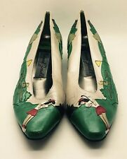 Vtg 80s MARGARET JERROLD Green White Red Leather Golf Ballet Flats 8.5M RARE !