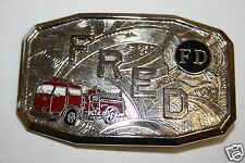 Vintage Mid Century Fire Fighter Engine Uniform FRED Small Belt Buckle RARE