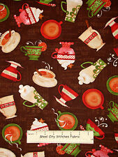 Christmas Apple Cider Cups Toss  Cotton Fabric Wilmington Hot Cider #33748 Yard