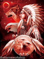 INDIAN CHIEFS WITH WOLVES - 3D FLIP PICTURE 300mm X 400mm