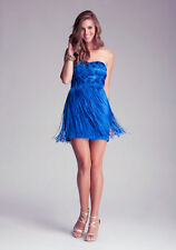 bebe NWOT $179 SZ 0 XS ROYAL BLUE FRINGE MINI DRESS SEXY SHORT