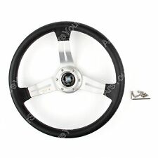 Universal 350mm/14inch Car Steering Wheel PU Leather Sport F1 Auto Silver D