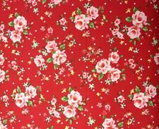 "100% Cotton Fabric 112cm/44"" Wide Rose Garden Red, craft Quilting Dress Making"