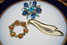 WONDERFUL VINTAGE SET OF THREE ASSORTED PINS OR BROOCHES AS PER PICTURES # M-015