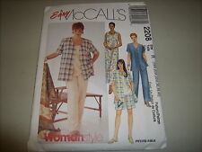 McCall's Easy Pattern 2208- Shirt, Dress, Top, Pull-on Pants or Shorts-18W-40 UC