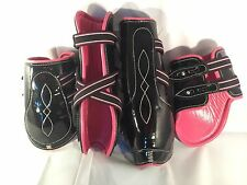 Black patent With Pink Cow Softy Leather Lining Tendon & Fetlock boots (Cob)