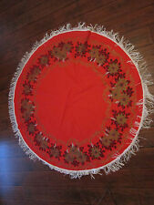"Vintage RED & GOLD Christmas Fringed Tablecloth Poinsettias 63"" Diameter"