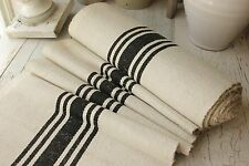 Vintage BLACK homespun fabric striped cotton linen bolt upholstery weight 1yds