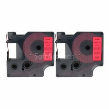 """2pk Black on Red Label Tape Compatible for DYMO 53717 D1 24mm 1"""""""