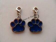 2 CHARMS BRELOQUE A FERMOIR METAL ARGENTE FORME PATTE ANIMAL - BIJOUX PERLES